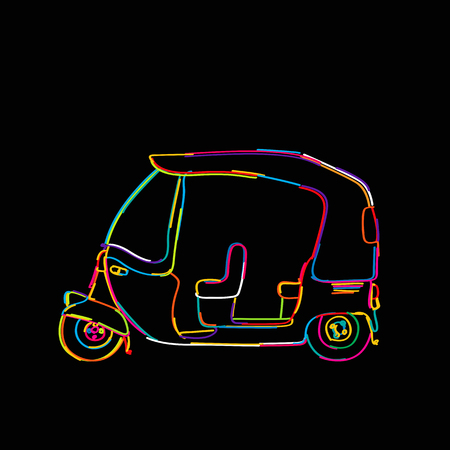 Funky tuk tuk, rickshaw icon isolated on black