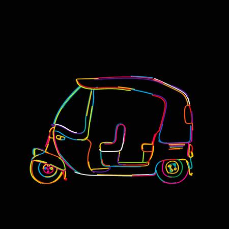 Funky tuk tuk, rickshaw icon isolated on black