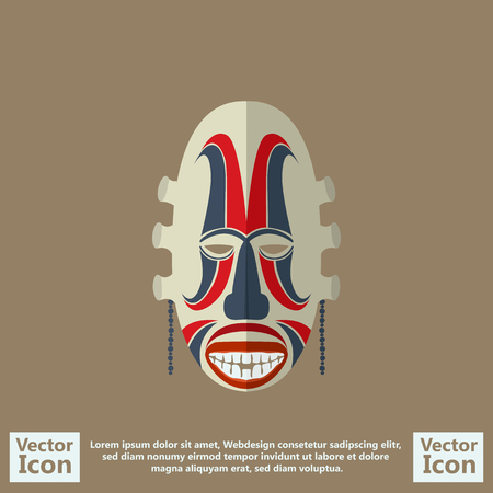 Flat style icon with tribal mask symbol