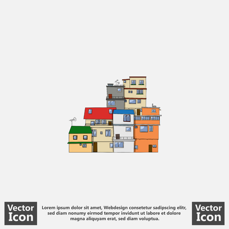 貧民街でフラット スタイル アイコン住宅シンボル  イラスト・ベクター素材