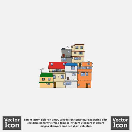 Flat style icon with favela houses symbol Ilustração