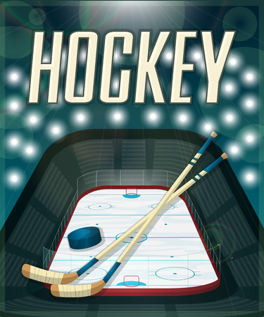 playoff: Hockey stadium card, vector illustrion eps 10