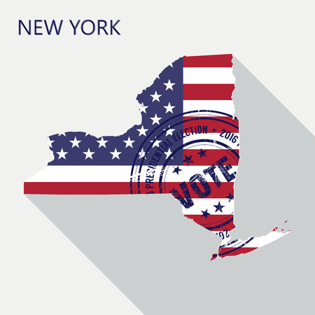 old new york: State of New York vector graphic map with flag and presidential day vote stamp
