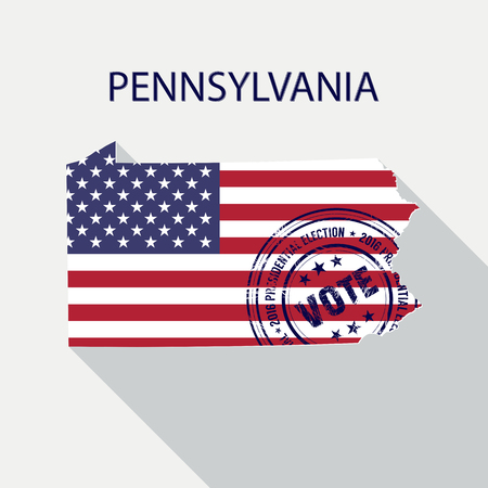 presidential: State of Pennsylvania vector graphic map with flag and presidential day vote stamp Illustration