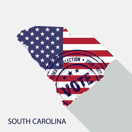 State of South Carolina vector graphic map with flag and presidential day vote stamp Illustration