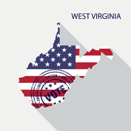 presidential: State of West Virginia vector graphic map with flag and presidential day vote stamp Illustration