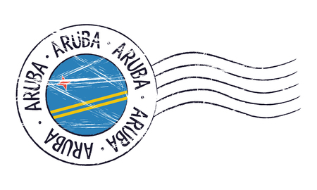 アルバ グランジ郵便切手と白い背景の上の旗