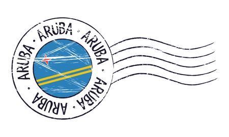 Aruba grunge postzegel en vlag op witte achtergrond