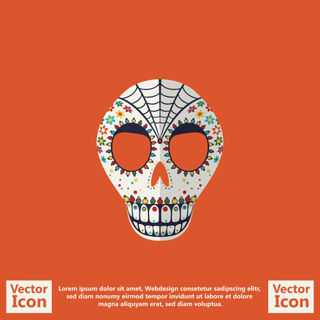 Flat style icon with sugar skull mexican mask symbol Vectores