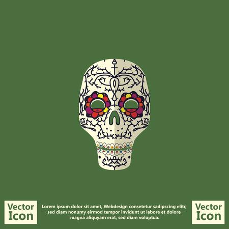 traje mexicano: Flat style icon with sugar skull mexican mask symbol Vectores