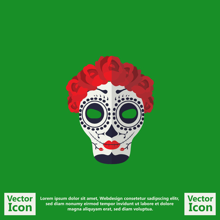 skeleton costume: Flat style icon with sugar skull mexican mask symbol Illustration