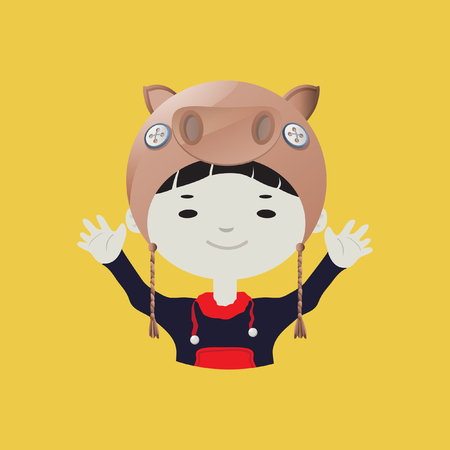 young boy smiling: Cute smiling young boy avatar wearing a pig mask Illustration