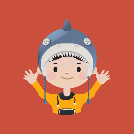 young boy smiling: Cute smiling young boy avatar wearing a shark mask Illustration