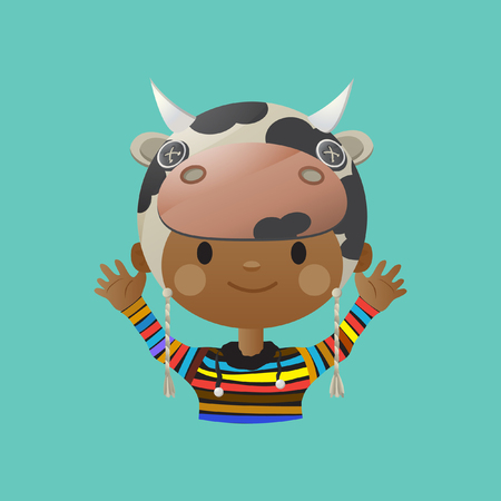 young boy smiling: Cute smiling young boy avatar wearing a cow mask