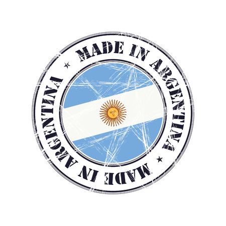 Made In Argentina Grunge Rubber Stamp With Flag Illustration