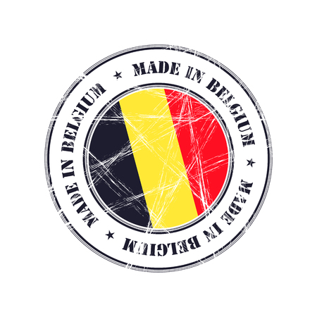 made in belgium: Made in Belgium grunge rubber stamp with flag