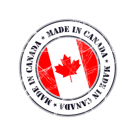 Made in Canada grunge rubber stamp with flag Illustration