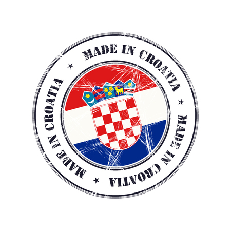 Gemaakt in Kroatië grunge Rubberstempel met vlag