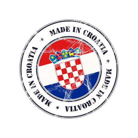 Hergestellt in Kroatien Grunge-Stempel mit Flagge Vektorgrafik