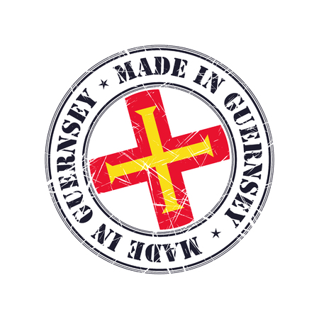 guernsey: Made in Guernsey grunge rubber stamp with flag