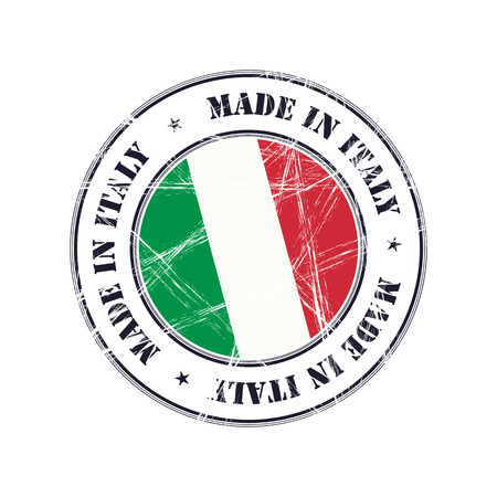 Made in Italy grunge rubber stamp with flag Illustration