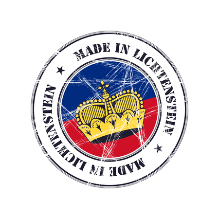 lichtenstein: Made in Lichtenstein grunge rubber stamp with flag