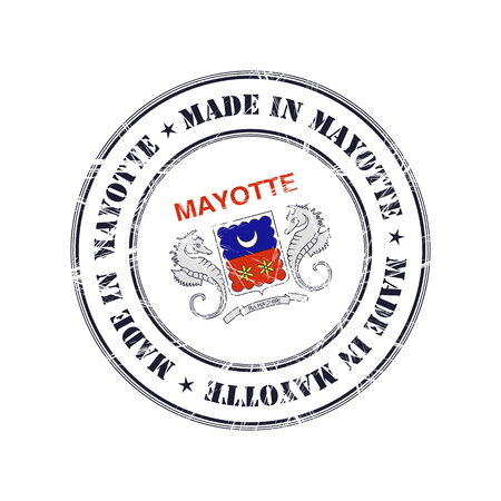 mayotte: Made in Mayotte grunge rubber stamp with flag Illustration