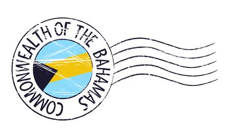 Bahamas grunge postal stamp and flag on white background
