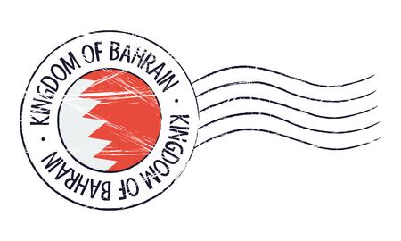old stamp: Bahrain grunge postal stamp and flag on white background