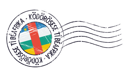 sign post: Central African Republic grunge postal stamp and flag on white background Illustration