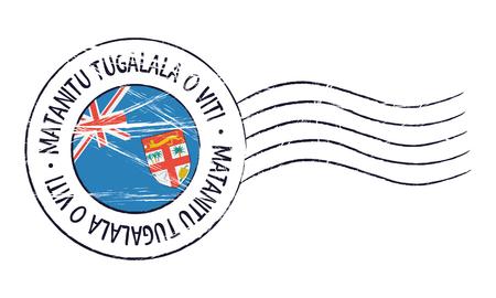 Fidschi Grunge Poststempel und Flagge auf weißem Hintergrund Standard-Bild - 78768944