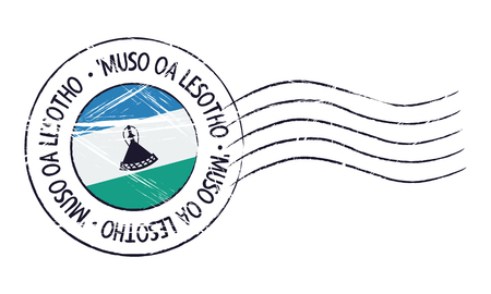 sign post: Lesotho grunge postal stamp and flag on white background