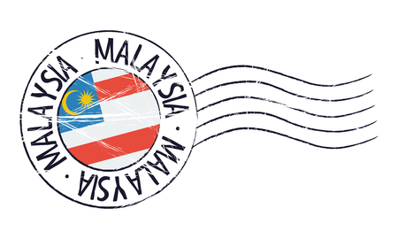 sign post: Malaysia grunge postal stamp and flag on white background
