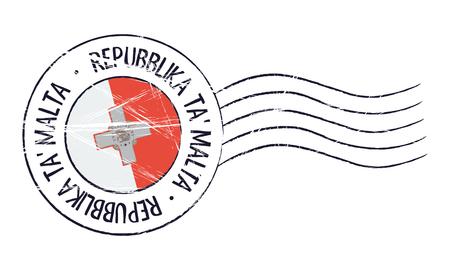Malta grunge postal stamp and flag on white background