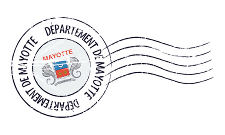 mayotte: Mayotte grunge postal stamp and flag on white background