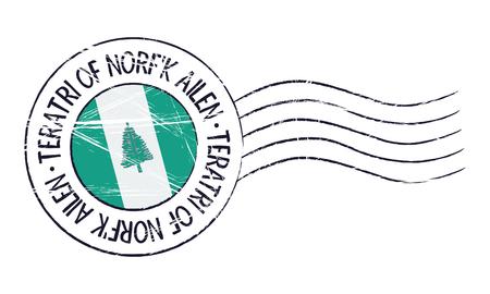 sign post: Norfolk Island grunge postal stamp and flag on white background