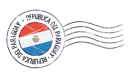sign post: Paraguay grunge postal stamp and flag on white background Illustration