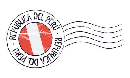 Peru grunge postal stamp and flag on white background