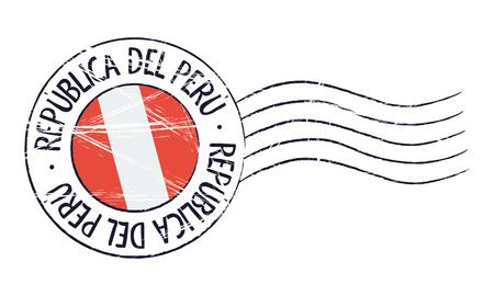 Peru grunge postzegel en vlag op witte achtergrond Stock Illustratie