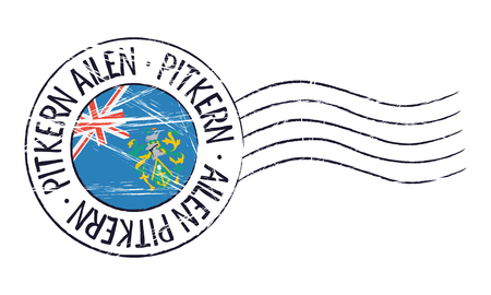 pitcairn: Pitcairn Islands grunge postal stamp and flag on white background