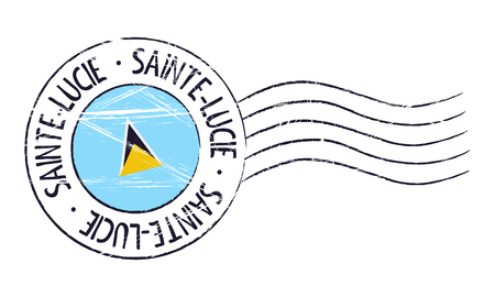 sign post: Saint Lucia grunge postal stamp and flag on white background