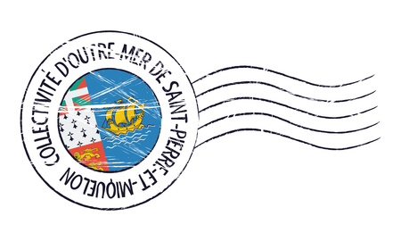 old stamp: Saint Pierre and Miquelon grunge postal stamp and flag on white background