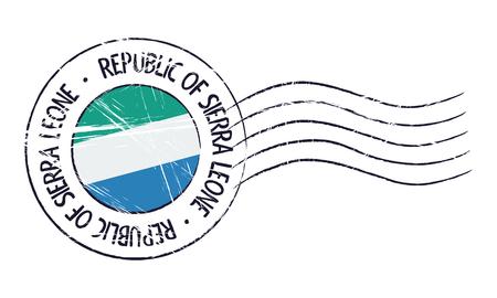 old stamp: Sierra Leone grunge postal stamp and flag on white background
