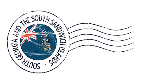 sign post: South Georgia and the South Sandwich Islands grunge postal stamp and flag on white background