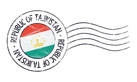 sign post: Tajikistan grunge postal stamp and flag on white background Illustration