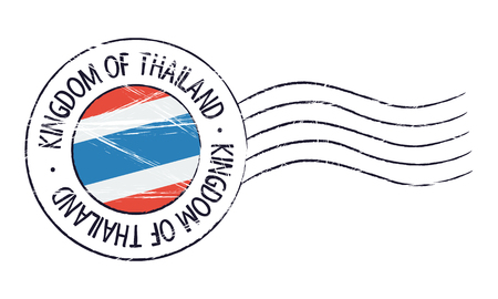 Thailand grunge postal stamp and flag on white background Illustration