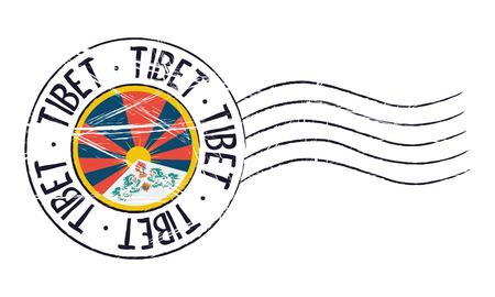 sign post: Tibet grunge postal stamp and flag on white background