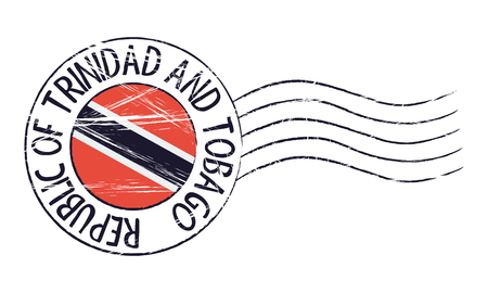 Trinidad and Tobago grunge postal stamp and flag on white background