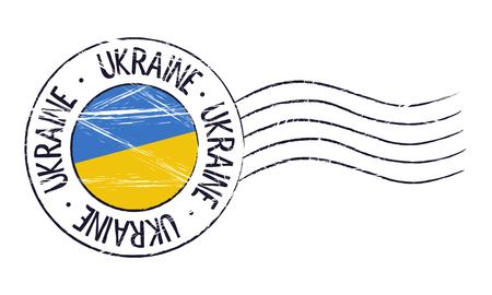 poststempel: Ukraine Grunge Poststempel und Flagge auf weißem Hintergrund