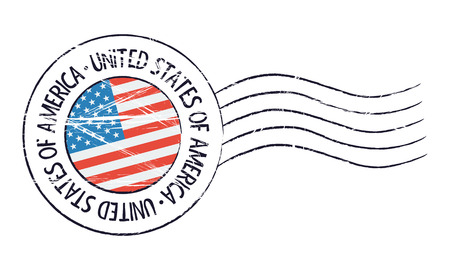 United States of America grunge postal stamp and flag on white background